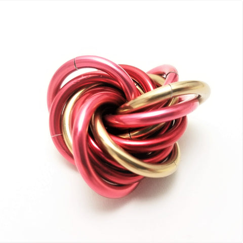Möbii® Valentine: Small Red and Pink Mobius Restless Hand Fidget Toy, Shiny Multicolor Stress Ball