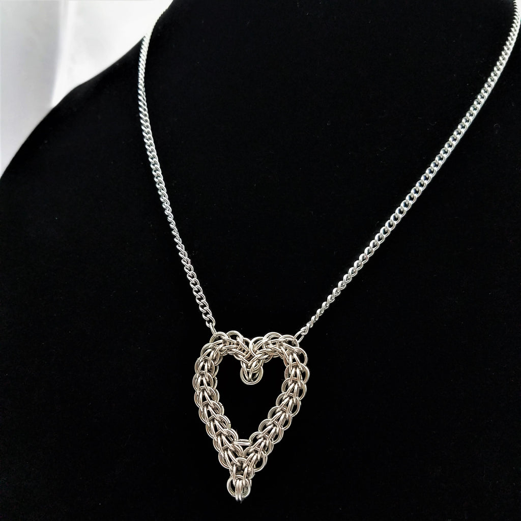 Steel Heart Necklace: Heart Pendant Woven in Stainless Steel, Stainless Steel Chain and Clasp