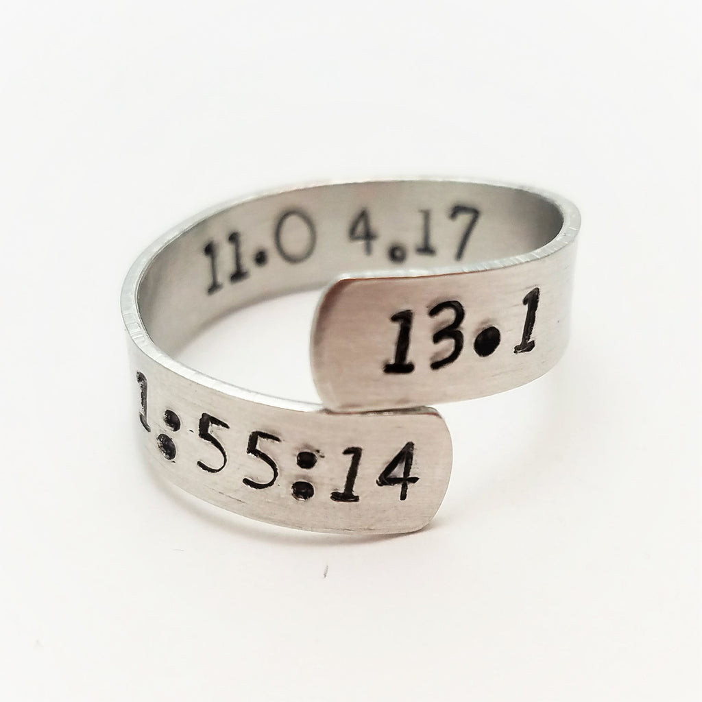 Race Results Adjustable Wrap Ring for Runners: Race Time Stamp for 5k, 10k, Half Marathon, Marathon