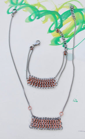European Maille: Steel and Copper Matching Necklace and Bracelet set, Stainless Steel Chain