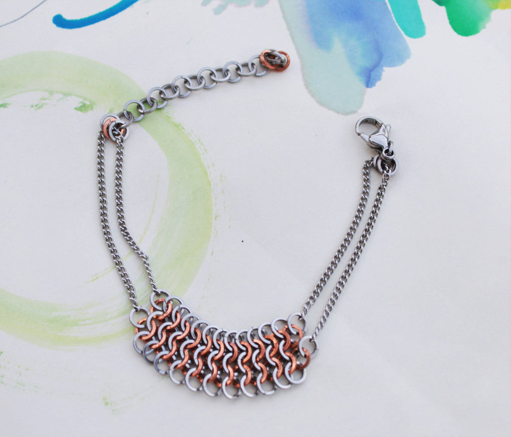 Wrist Maille: European Maille Steel and Copper Bracelet, Stainless Steel Chain