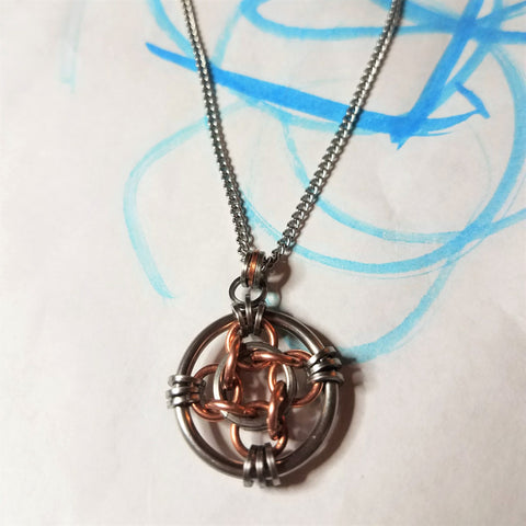 Lucky Coin Necklace:  Four Point Nickel Sized Pendant Stainless Steel and Copper