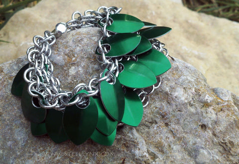 Scale Mail Overlapping Bracelet Band: Green Dragon Scale Sheet Overlapping Scale Armor Chainmail Cuff, Tumerok Bracelet -  - 1