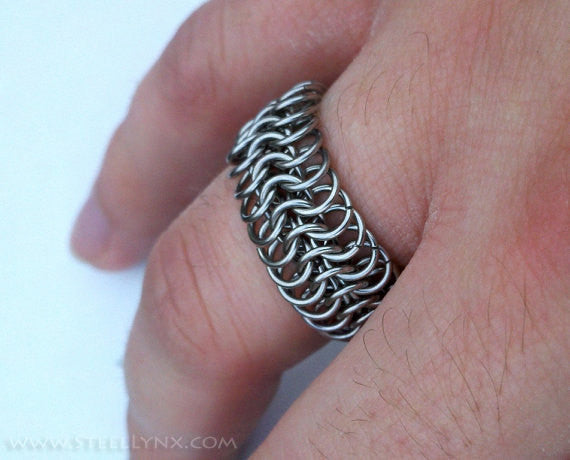 Stainless Steel Chain Mail Ring: Finger Armor, Custom Ring Size -  - 1