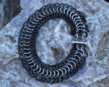 Black Stainless Steel Chainmail Bracelet: Maille Woven Wrist Cuff, Black and Silver Wrist Armor -  - 5