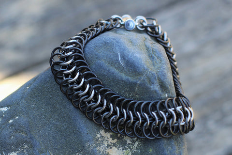 Black Stainless Steel Chainmail Bracelet: Maille Woven Wrist Cuff, Black and Silver Wrist Armor -  - 1