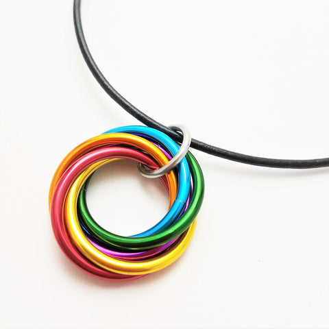 Infinity Rainbow Ring Pendant, Möbii® Rainbow Fidget Necklace, Möbius Rings Necklace, Forever Spiral