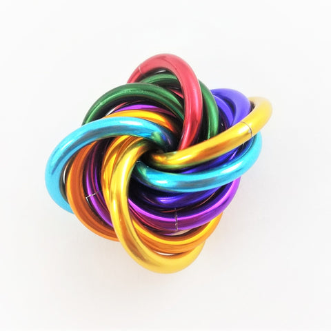 Möbii® Rainbow: Small Mobius Hand Fidget Toy, Shiny Multicolor Stress Ball