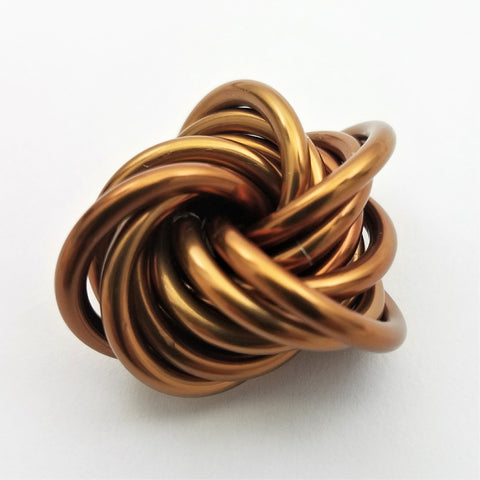 Möbii® Caramel: Small Mobius Hand Fidget Toy, Shiny Rich Brown Stress Ball