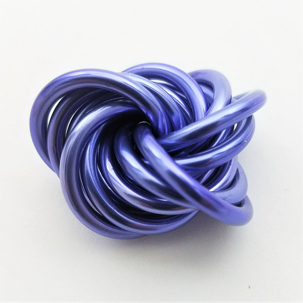 Möbii Lavender: Small Mobius Hand Fidget Toy, Shiny Silvery Blueish Purple Stress Ball