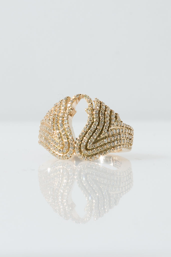 14K GOLD AND DIAMOND WING PINKY RING