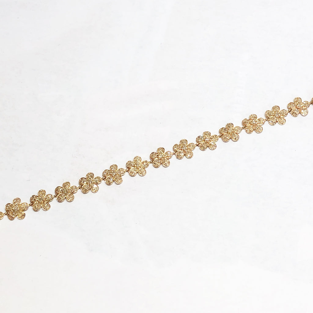 Yellow Gold Diamond Daisy Bracelet