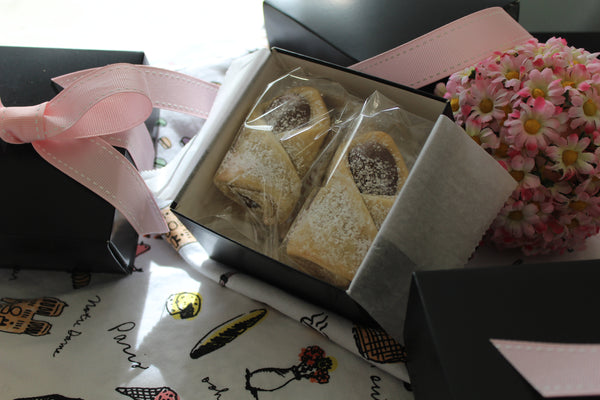 Chocolate Pastry Minis - 4 Piece Gift Box - softly textured buttery dough gently folded around a chocolate ganache filling