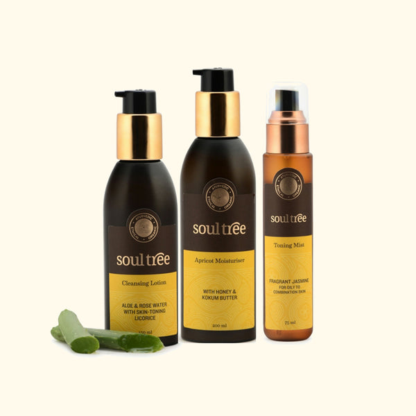 Cleansing Lotion, Fragrant Jasmine Toning Mist & Apricot Moisturiser Set