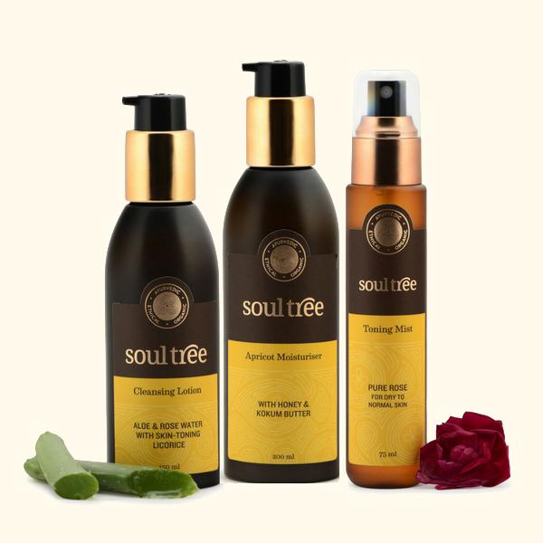 Cleansing Lotion, Rose Toning Mist & Apricot Moisturiser Set