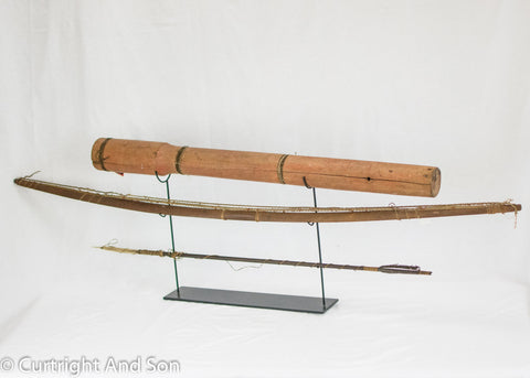 CHUGACH MUT, ALEUT BOW, WOODEN QUIVER, AND ARROW