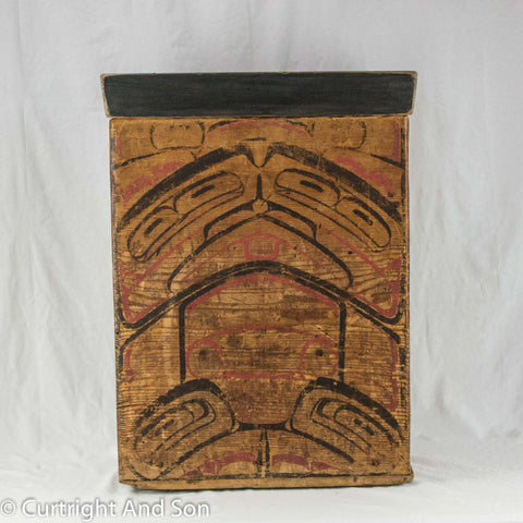 TSIMSHIAN BENTWOOD STORAGE BOX 19TH CENTURY