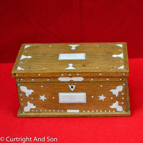 FOLK ART OAK & IVORY BOX WHALERS ART