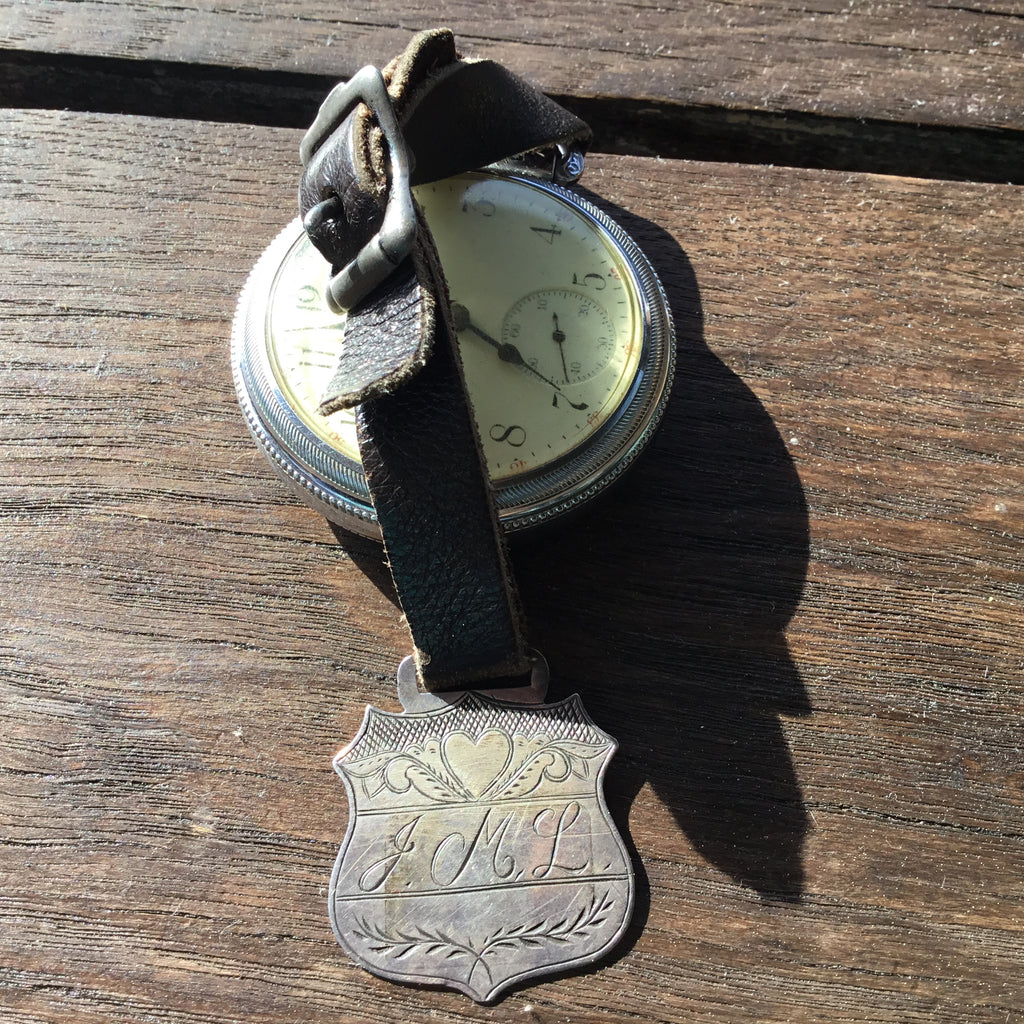 #NORTHWEST COAST SILVER ENGRAVED FOB with WATCH