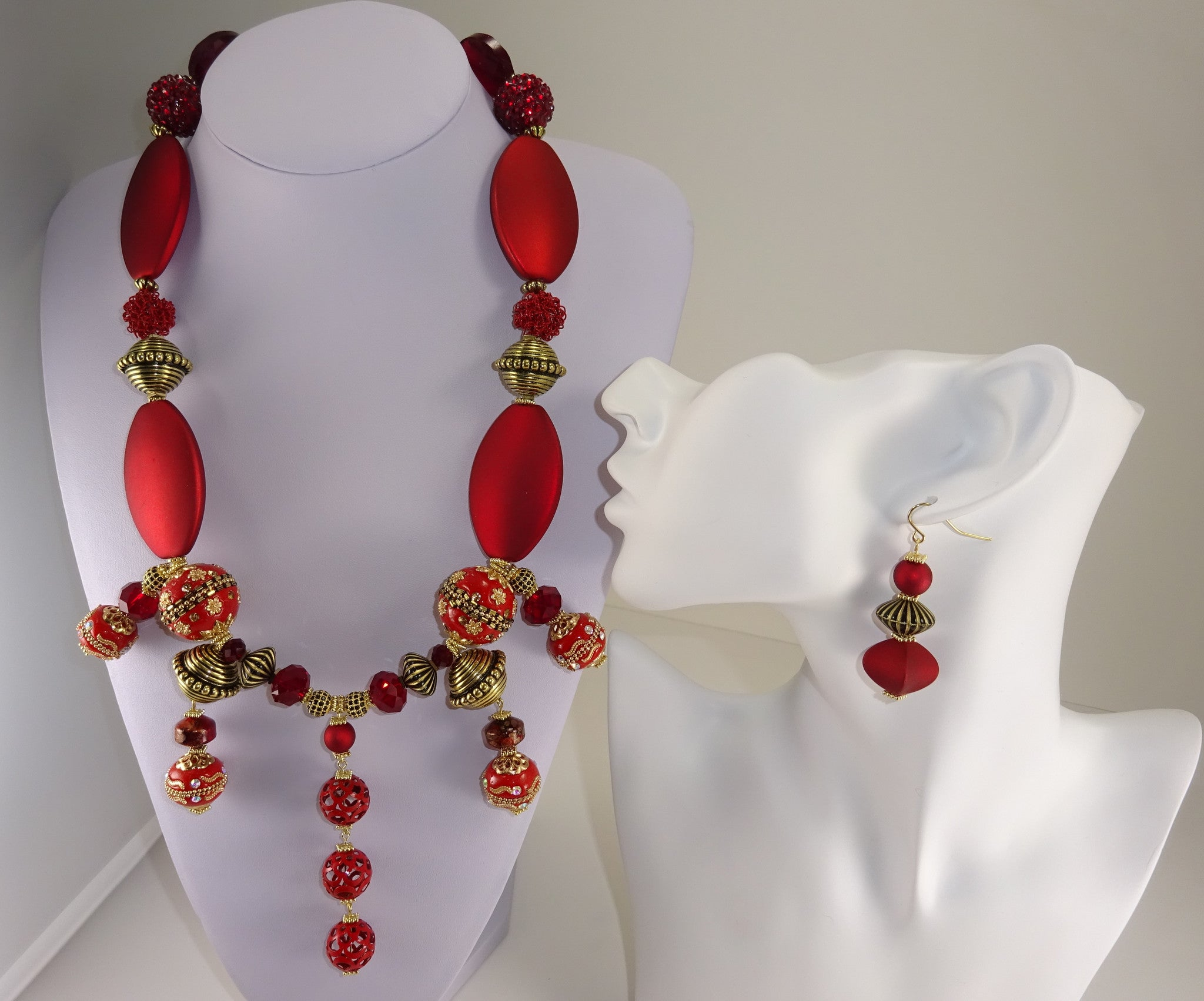 red embroidered products image crimson and yellow mustard bouquet flower necklace
