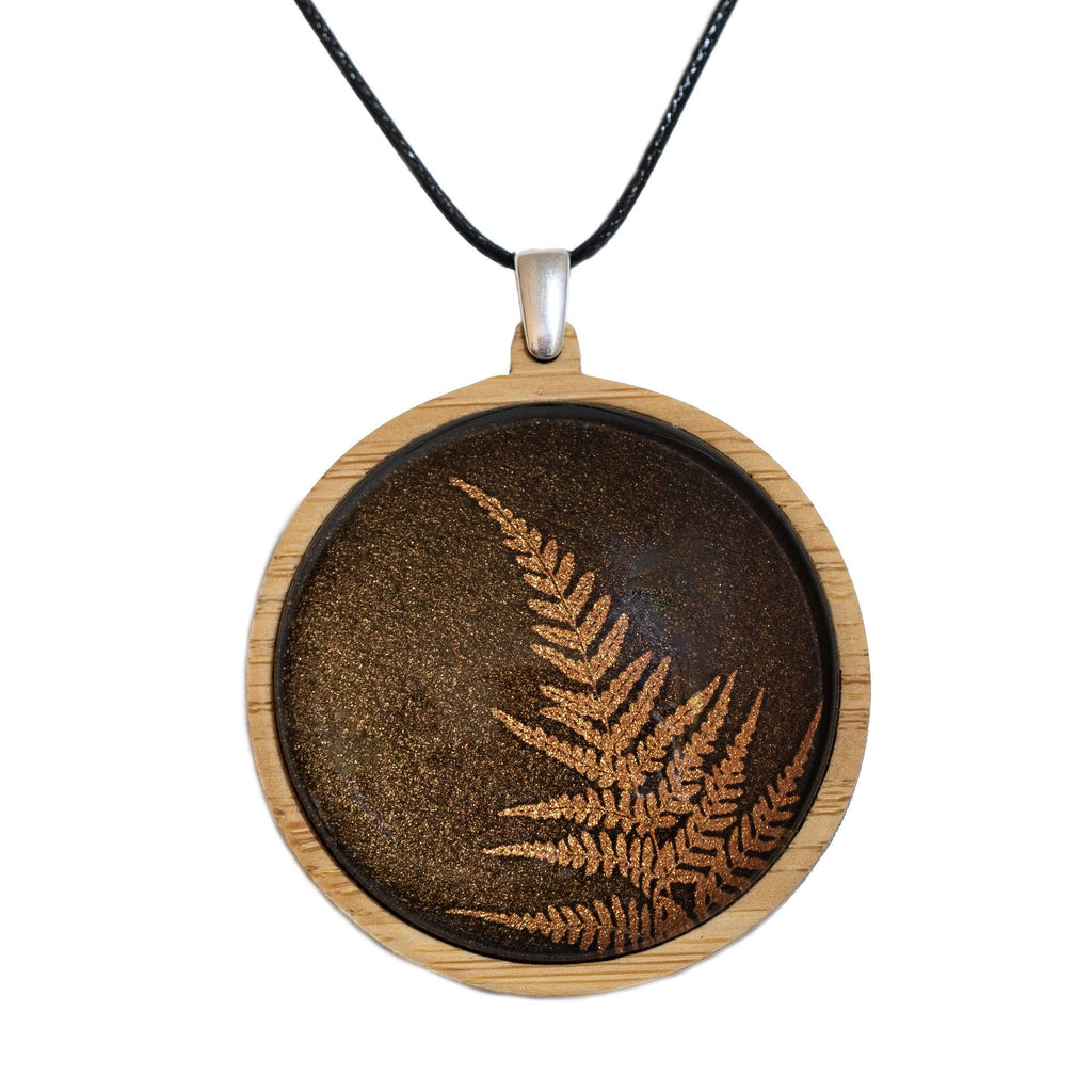Fern - Pendant (Large) Bamboo Wooden Nature Jewellery Handmade in Tasmania Australia Myrtle & Me Eco Friendly Gift