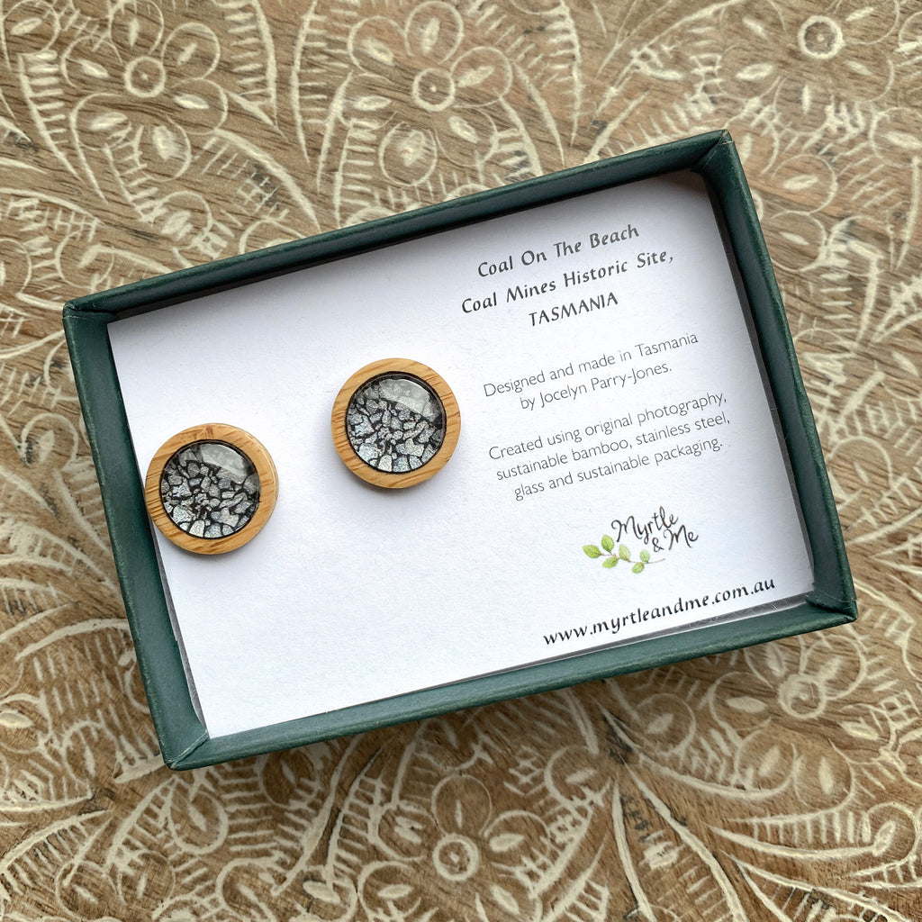 Coal On The Beach - Stud Earrings-Earrings-Myrtle & Me