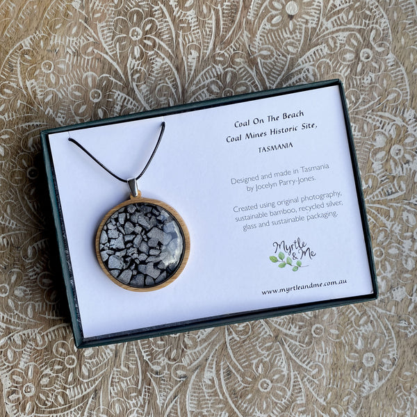 Coal On The Beach - Pendant (Large)-Pendant-Myrtle & Me