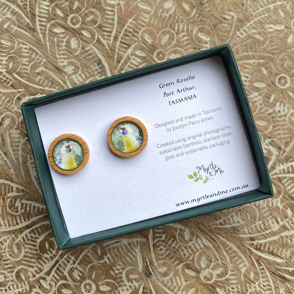 Green Rosella - Stud Earrings-Earrings-Myrtle & Me