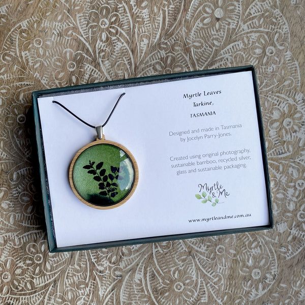 Green Myrtle Leaves Pendant In Gift Box Myrtle & Me Tasmanian Made Jewellery