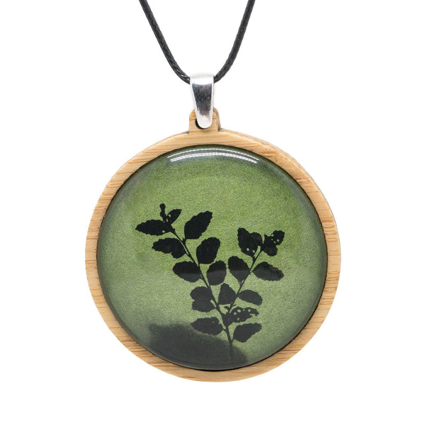 Green Myrtle Leaves Pendant Myrtle & Me Tasmanian Made Jewellery Bamboo Necklace