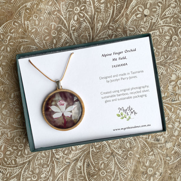 Alpine Finger Orchid Pendant In Gift Box Myrtle & Me Tasmanian Made Jewellery