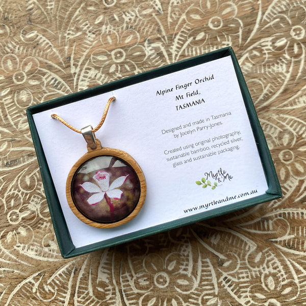 Alpine Finger Orchid Necklace In Gift Box Myrtle & Me Tasmanian jewellery