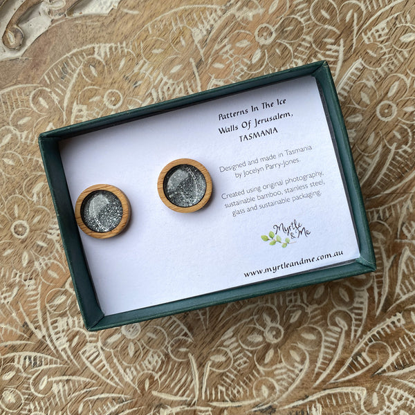 Patterns In The Ice Stud Earrings In Gift Box Myrtle & Me Tasmanian Nature Jewellery