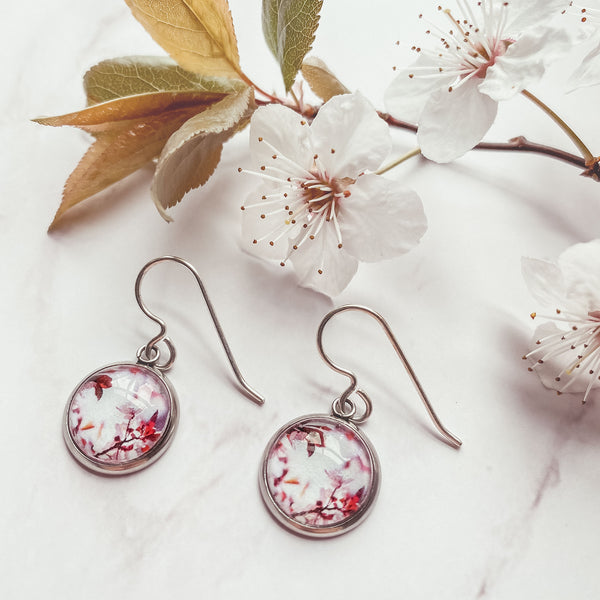Pink Blossom Drop - Earrings-Earrings-Myrtle & Me