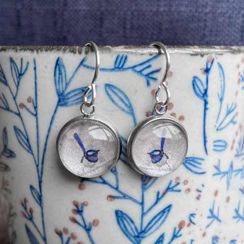 Blue Wren - Drop Earrings-Earrings-Myrtle & Me