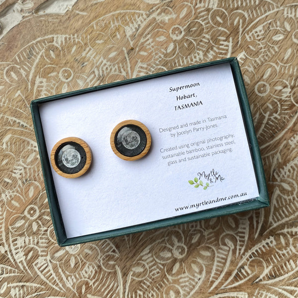 Supermoon Stud Earrings In Gift Box Tasmanian Nature Jewellery Myrtle & Me