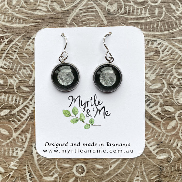 Supermoon Drop Earrings Myrtle & Me Jewellery Handmade In Tasmania