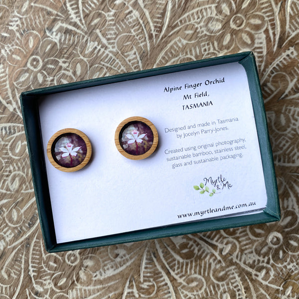 Alpine Finger Orchid - Stud Earrings-Earrings-Myrtle & Me