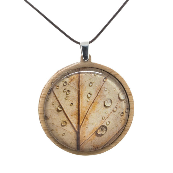 Autumn Leaf - Pendant (Large) Bamboo Wooden Nature Jewellery Handmade in Tasmania Australia Myrtle & Me Eco Friendly Gift