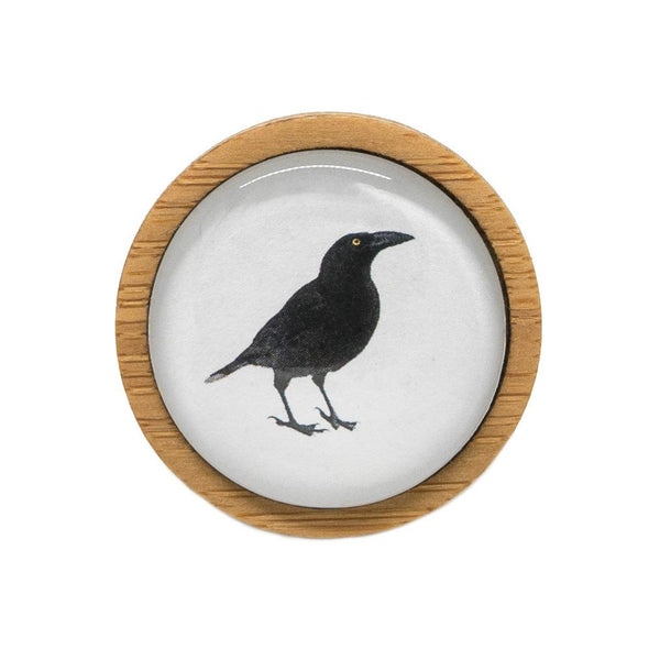 Black Currawong - Brooch Handmade Bamboo Wooden Jewellery Myrtle & Me Tasmanian Design Eco Friendly Nature Gift