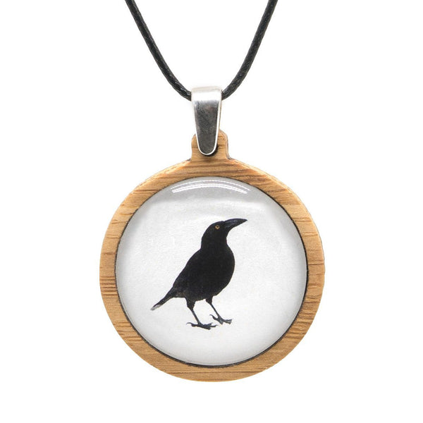 Black Currawong - Pendant (Medium)-Pendant-Myrtle & Me