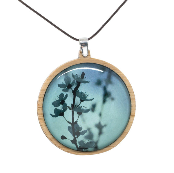 Blue Blossom - Pendant (Large) Bamboo Wooden Nature Jewellery Handmade in Tasmania Australia Myrtle & Me Eco Friendly Gift