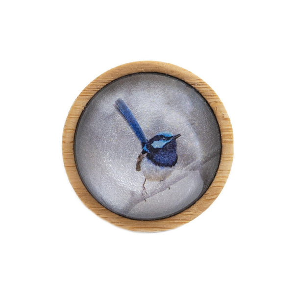 Blue Wren - Brooch Handmade Bamboo Wooden Jewellery Myrtle & Me Tasmanian Design Eco Friendly Nature Gift