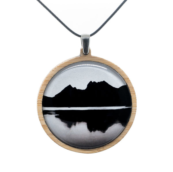 Cradle Mountain - Pendant (Large) Bamboo Wooden Nature Jewellery Handmade in Tasmania Australia Myrtle & Me Eco Friendly Gift