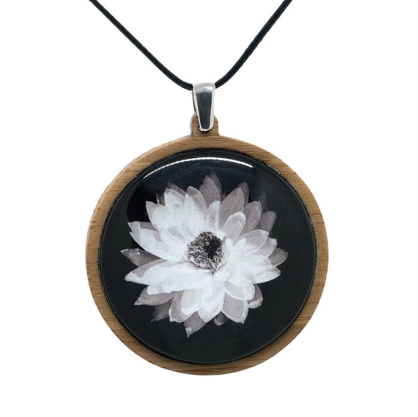 Everlasting Daisy - Pendant (Large) Bamboo Wooden Nature Jewellery Handmade in Tasmania Australia Myrtle & Me Eco Friendly Gift