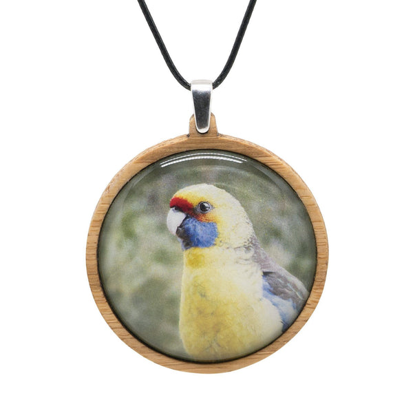 Green Rosella - Pendant (Large) Bamboo Wooden Nature Jewellery Handmade in Tasmania Australia Myrtle & Me Eco Friendly Gift