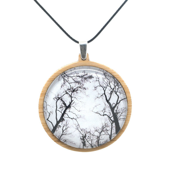 Gum Trees After Fire - Pendant - (Large) Bamboo Wooden Nature Jewellery Handmade in Tasmania Australia Myrtle & Me Eco Friendly Gift