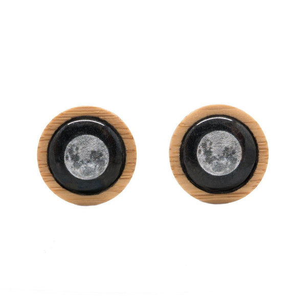 Supermoon Stud Earrings Myrtle & Me Tasmanian Nature Jewellery Eco Friendly Bamboo