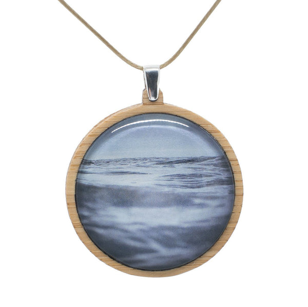 Sea & Sky - Pendant (Large) Bamboo Wooden Nature Jewellery Handmade in Tasmania Australia Myrtle & Me Eco Friendly Gift