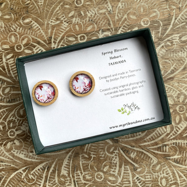 Pink Blossom - Stud Earrings-Earrings-Myrtle & Me